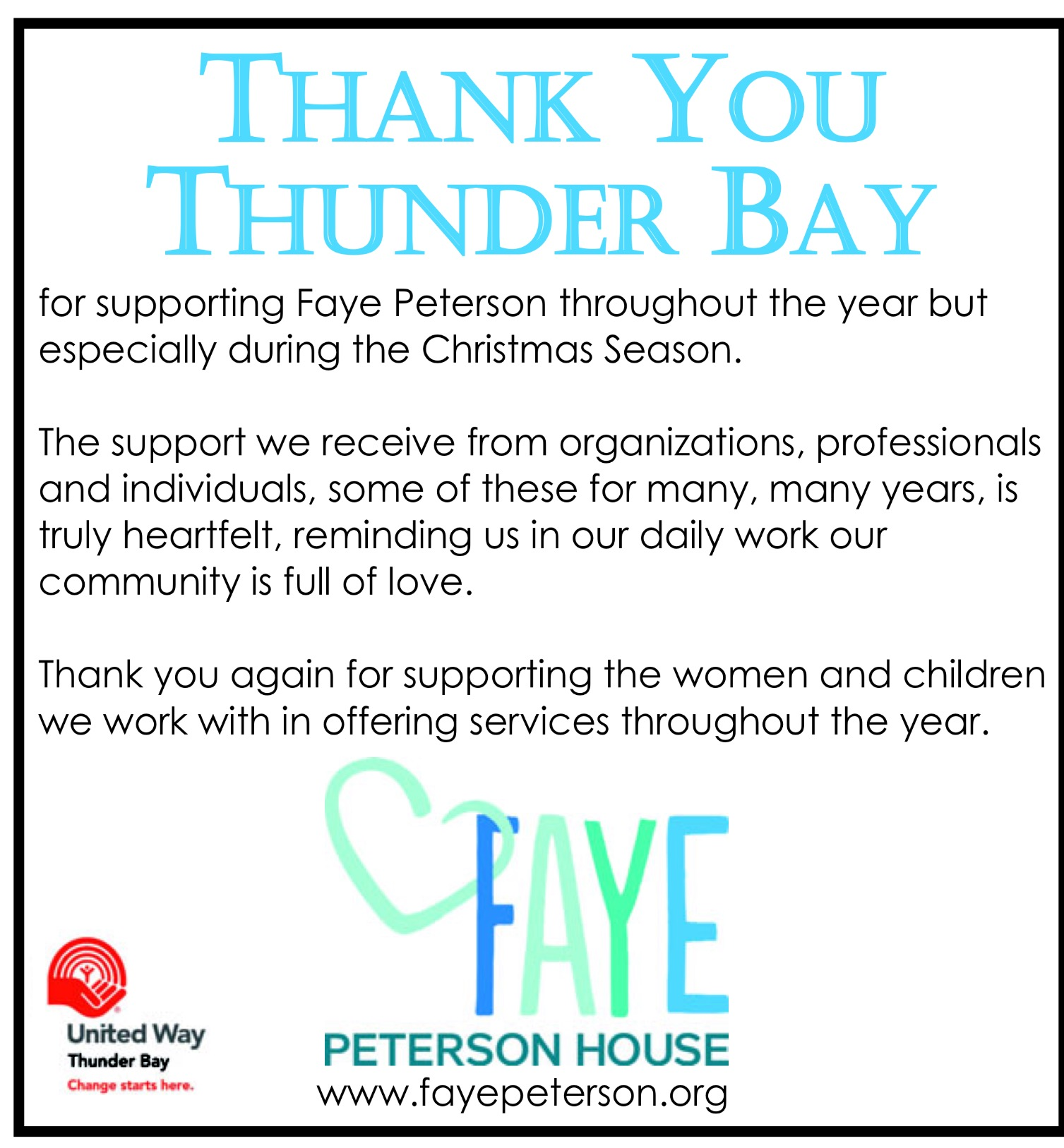 Thank you to Thunder Bay